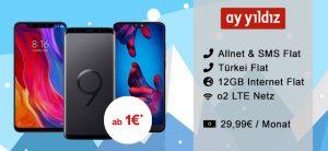 Ay Yildiz Ay Allnet Plus (12GB LTE) für 29,99€ mit Samsung Galaxy S9 für 4,95€