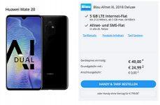 Blau Allnet XL (5GB LTE) ab 19,99€ mit Huawei Mate 20 ab 49€