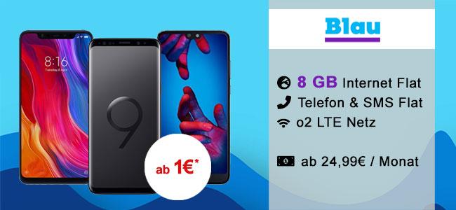 8GB LTE Blau Allnet Plus ab 24,99€ mit Galaxy S9 ab 4,95€