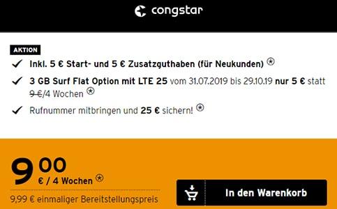 Congstar Prepaid 3GB LTE Allnet Flat für 9€ pro Monat | Telekom Tarif ohne Laufzeit