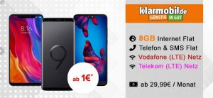Klarmobil AllNet Flat bis zu 8GB ab 29,99€ mit TOP Smartphones ab 1€