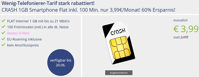 Klarmobil Smartphone Flat 1000 für 3,99€ * Telekom Netz*