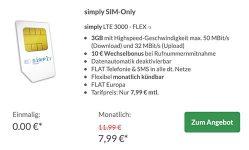 Simply LTE 3000 für 7,99€ | mit 10€ Amazon Gutschein und ohne Laufzeit