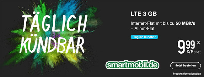 smartmobil Tarife bis zu 10GB LTE ab 7,99€ *taglich kündbar*