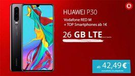 Vodafone RED M | GigaKombi (bis zu 26GB LTE) mit TOP-Smartphones ab 1€
