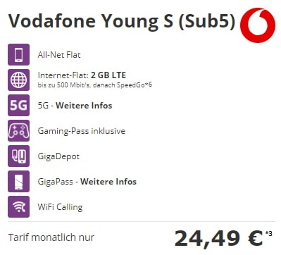 Vodafone Young S Tarif mit Handy ab 1€