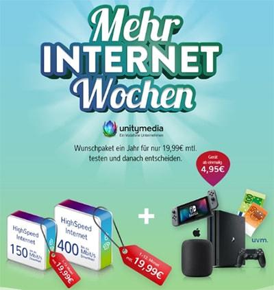 2Play Unitymedia DSL mit 200€ Auszahlung oder TOP Hardware ab 4,95€