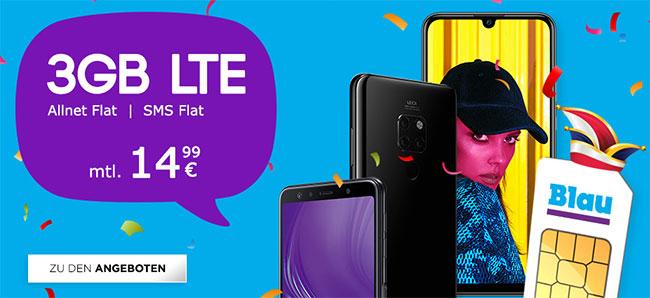 Blau Allnet L (3GB LTE) für 14,99€ mit Huawei Mate 20 lite für 19€