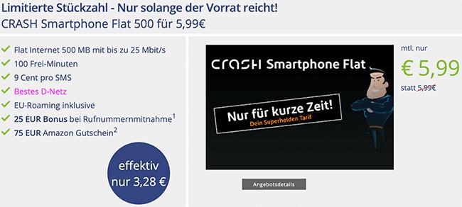 Crash Smartphone Flat - 500MB mit 100 Minuten mit 75€ Amazon Gutschein *Telekom Netz*
