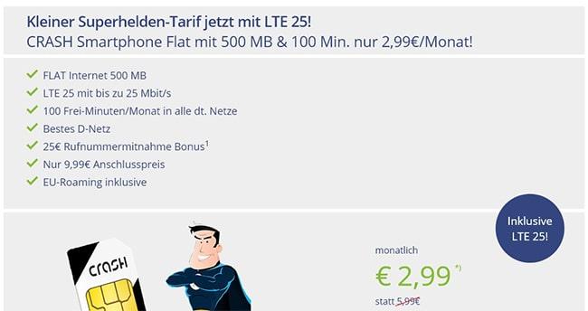 Crash Telekom LTE Vertrag - 500MB mit 100 Minuten für 2,99€
