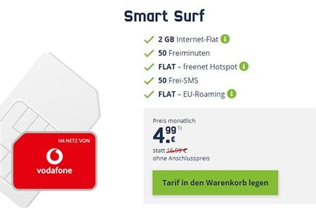2GB Vodafone LTE Mobilcom Debitel Smart Surf für 4,99€