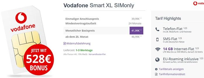 14GB LTE Vodafone Smart XL mit 528€ Auszahlung