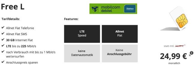 MD o2 Free L mit 30 GB LTE Internet Flat für 24,99€ | SIM-Only