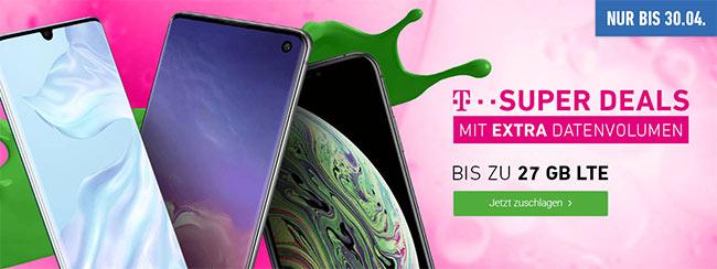 Telekom Magenta Mobil L (bis 27GB LTE) mit Samsung Galaxy S10 ab 4,95€