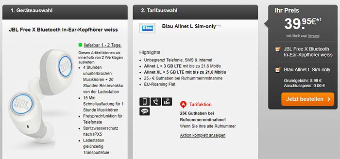 Blau Allnet Vertrag ab 8,99€ mit JBL Free X für 39,99€