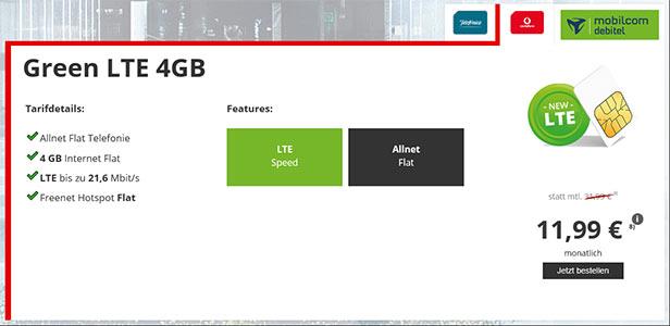 Vodafone LTE Allnet Flat 1GB für 7,99€ | 4GB für 11,99€ - Mobilcom Green LTE