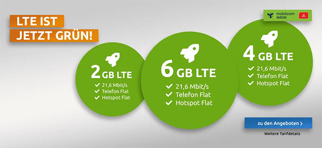 Mobilcom Debitel Green LTE Tarife mit TOP-Smartphones ab 1€   Vodafone LTE Netz
