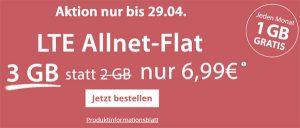 3GB LTE PremiumSIM Allnet Flat für 6,99€ | mit und ohne Smartphone aktuelle Angebote in der Übersicht
