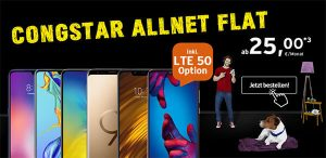 Congstar Allnet Flat (3GB | 4GB | LTE) ab 20€ mit Huawei P30 lite für 4,95€