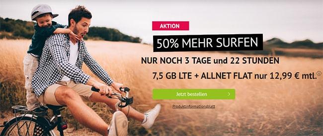 7,5GB Handyvertrag LTE Allnet Flat für 12,99€ | mit und ohne Laufzeit