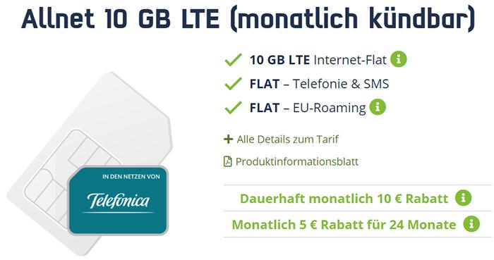 MD Telefonica Free M mit 10 GB LTE Internet Flat für 14,99€ | ohne Laufzeit
