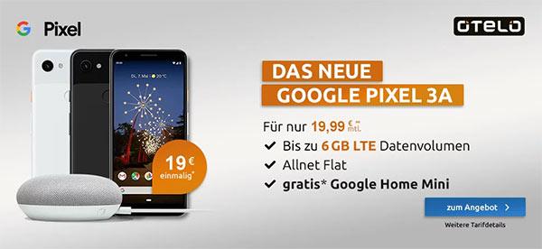 otelo Allnet-Flat Classic (4GB | 5GB LTE) ab 19,99€ mit Google Pixel 3a für 19,99€