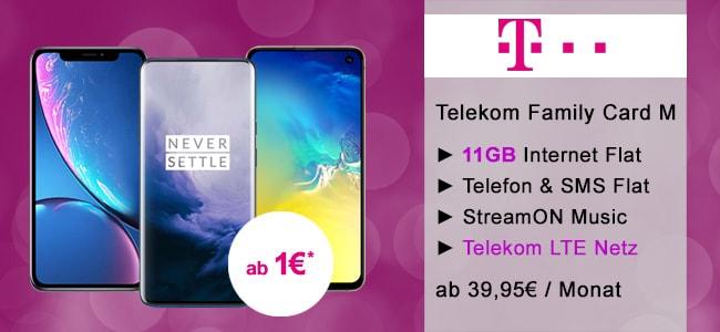 Telekom Family Card M ab 39,95€ mit TOP Smartphones ab 1€ | Bis zu 11GB LTE