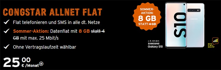 8GB Congstar Allnet Flat ab 25€ mit Handy ab 4,99€ | Telekom LTE Netz