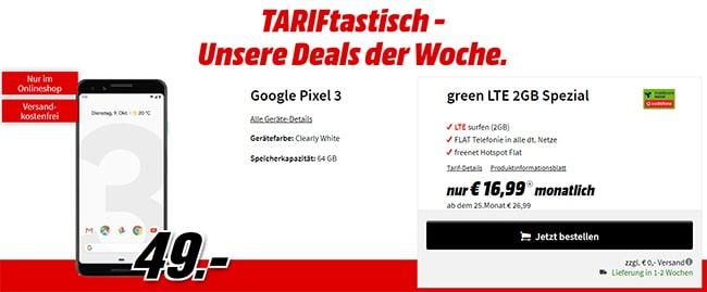 Google Pixel 3 für 49€ mit 2GB LTE Vodafone Handyvertrag für 16,99€ / Monat