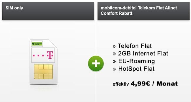 2GB Allnet Flat Telekom Vertrag für 4,99€