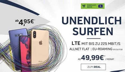 Mobilcom Debitel o2 Free Unlimited (unbegrenztes Datenvolumen) ab 49,99€ mit TOP Smartphone ab 0,99€