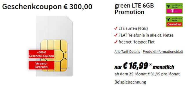 6GB Vodafone oder Telekom LTE Tarif mit 300€ MediaMarkt Geschenk-Coupon (effektiv 4,49€ / Monat)
