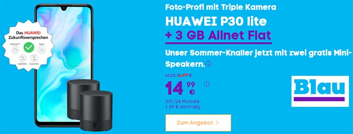 Blau Allnet L (3GB LTE) ab 13,99€ mit Handy ab 4,95€
