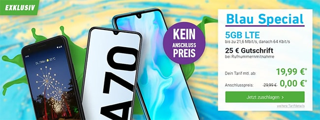 Blau Allnet XL (5GB LTE) ab 17,99€ mit TOP-Smartphones ab 1€