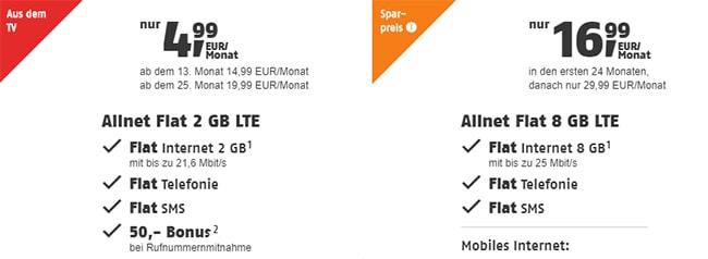 Klarmobil Allnet Flat Tarife (bis zu 8GB) ab 9,99€ / Monat   Telekom LTE Netz