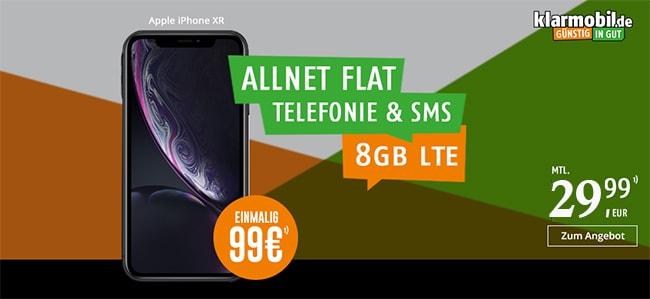 Klarmobil AllNet Flat Vodafone LTE 8GB ab 21,99€ mit Apple iPhone 8 (64GB) ab 99€