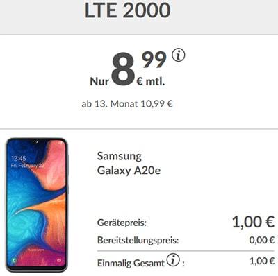 2GB LTE Handyvertrag unter 10€ mit Samsung Galaxy A20e für 1€