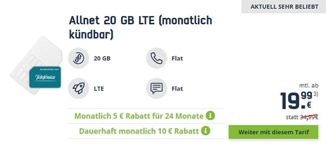 MD Allnet 20 GB LTE (monatlich kündbar) für 19,99€ | SIM-Only