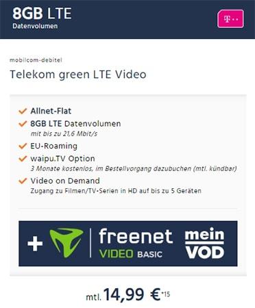 MD Green 8GB Telekom LTE Vertrag für rechnerisch 14,99€