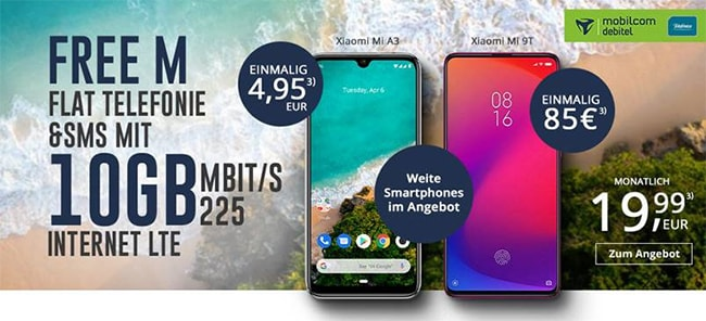 Mobilcom Debitel o2 Free M Boost (20 GB LTE) ab 19,99€ mit Handy ab 4,95€