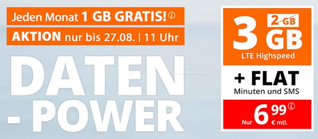 sim.de Allnet Flat mit 3GB für 6,99€ | ohne Laufzeit