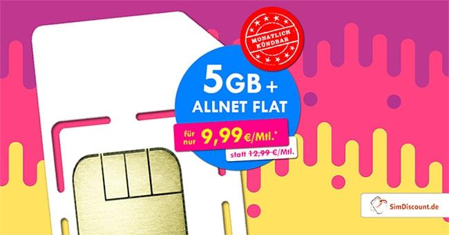 SimDiscount 5GB LTE Allnet Flat für 9,99€ | ohne Laufzeit