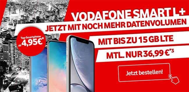 15GB LTE Vodafone Smart L Plus für 36,99€ mit TOP-Smartphone ab 1€