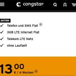 Congstar Prepaid 3GB LTE Allnet Flat für 13€ pro Monat | Telekom Tarif ohne Laufzeit