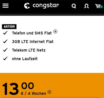 Congstar Prepaid 3GB LTE Allnet Flat für 13€ pro Monat   Telekom Tarif ohne Laufzeit