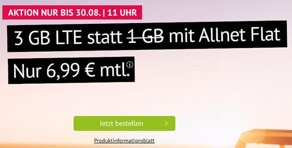 3GB Handyvertrag.de LTE Allnet Flat für 6,99€ | ohne Laufzeit