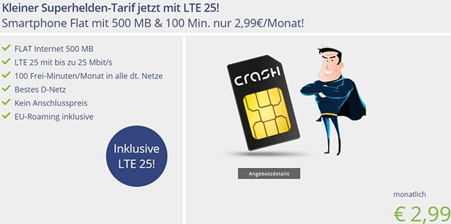 Klarmobil Smartphone Flat 500 MB LTE mit 100 Minuten für 2,99€ *Telekom LTE Netz*