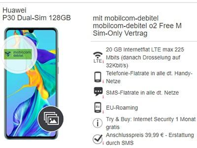 Mobilcom Debitel o2 Free M Boost (20 GB LTE) ab 19,99€ mit Handy ab 1€