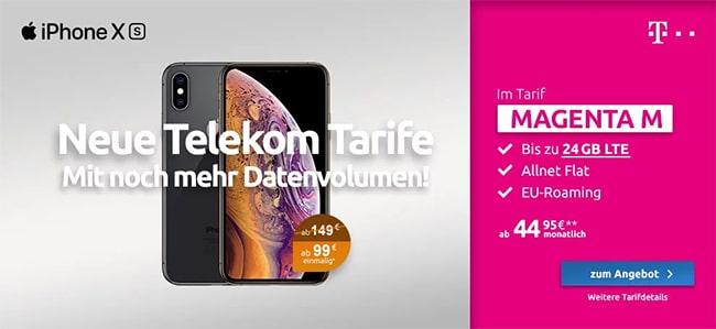 Neue Telekom Magenta Mobil M (Young) Tarife (bis zu 24GB Flat) mit Apple iPhone Xs ab 99€