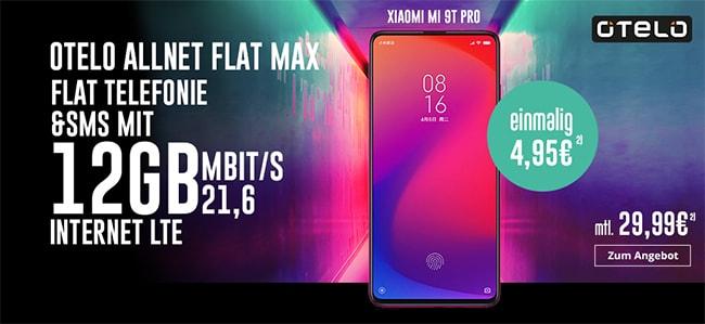 12GB otelo Allnet-Flat Max ab 29,99€ (Vodafone LTE Netz) mit Xiaomi Mi 9T Pro für 4,95€ uvm.